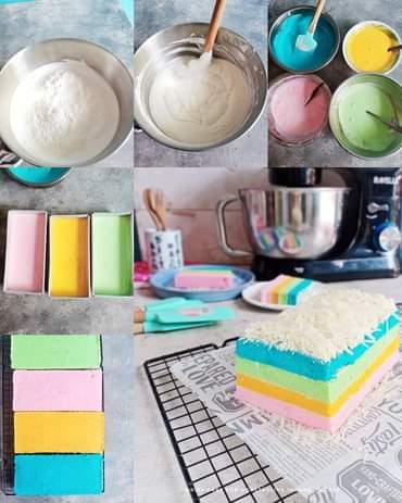 Rainbow cake putih telur
